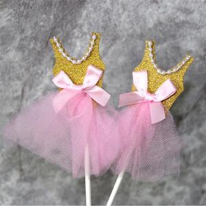 Image 4 - 5Pcs Bling Bling Ballerina Rock Tutus Kleid Kuchen Topper Party Cupcake Fahnen Kuchen Dekoration Obst Picks Für Thema Event a3