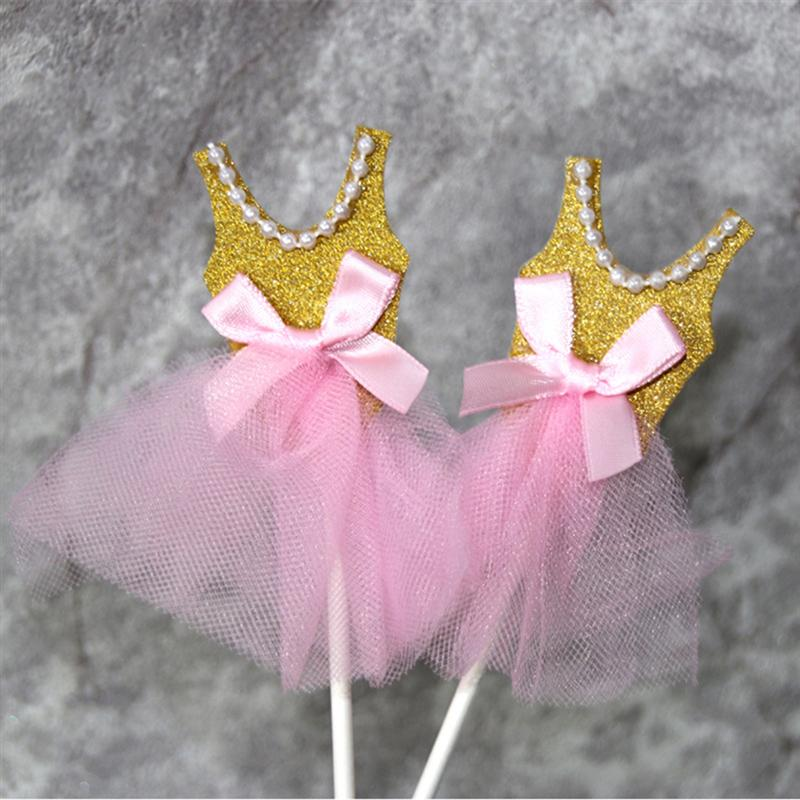 Image 4 - 5Pcs Bling Bling Ballerina Skirt Tutus Dress Cake Topper Party Cupcake Flags Cake Decoration Fruits Picks For Theme Event A3-in Cake Decorating Supplies from Home & Garden