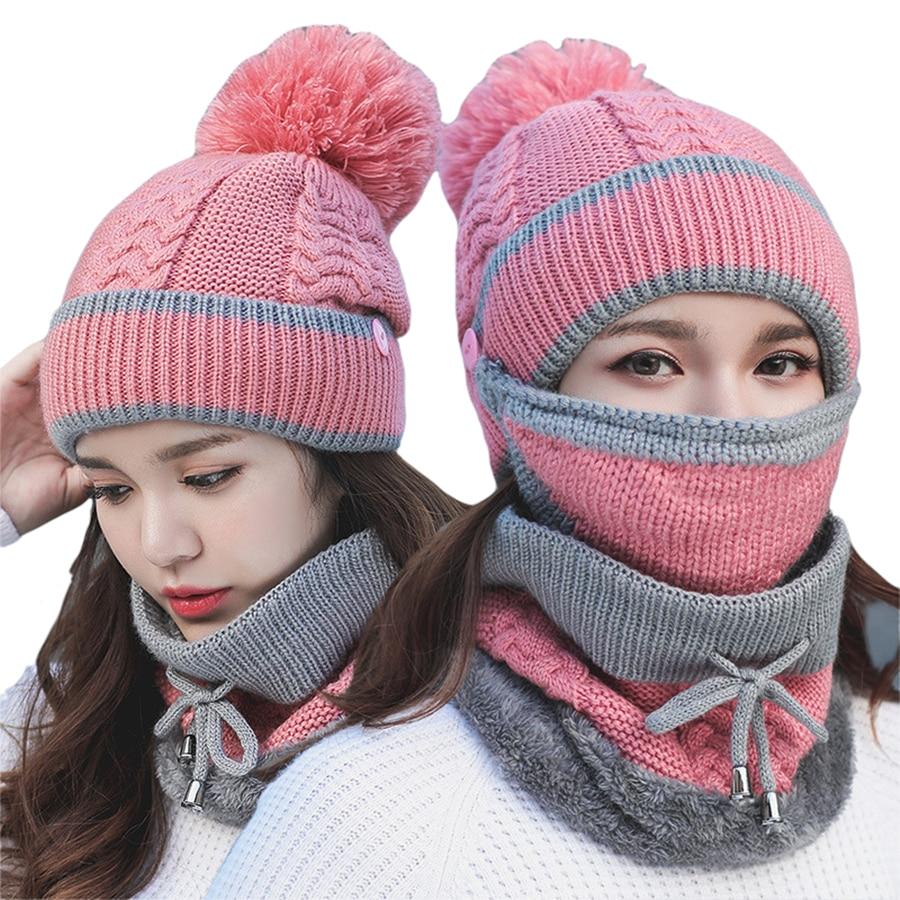Set 3 Anti-fog Hats Women Winter Beanies Velvet Thick Bib Mask Skullies Beanie Hat Dustproof Hats Female Warm Knitted Wool Cap