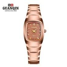 Montre femme Moda Marca GUANQIN Mujer Square Reloj de Acero de Tungsteno Rhinestone Femenino Reloj de Cuarzo Mujeres Reloj Mujer Reloj