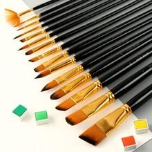 15pcs acrylic brush nylon hair watercolor oil beginner student paint round head flat art color supplies