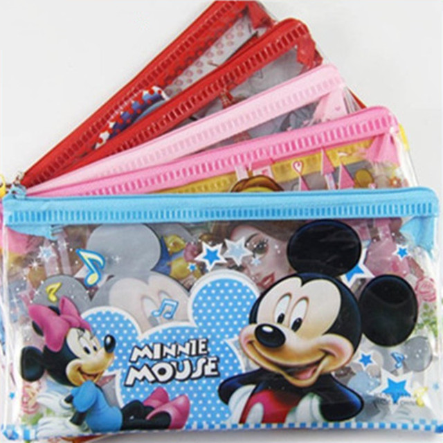 Anime Stationery Pencil Bag Spiderman Princess Cartoon Zip Pvc Pen Storage  Case Student Supplies Gift For