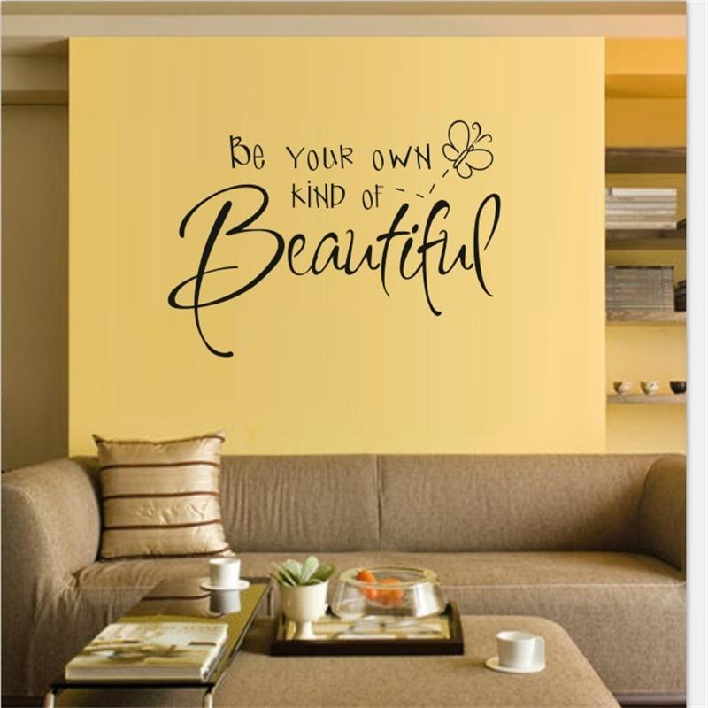Be Your Own Kind Of Beautiful Inspirational Quotes Girls Bedroom Vinyl Wall Stickers Sticker Lettering Words Home Decor Decal