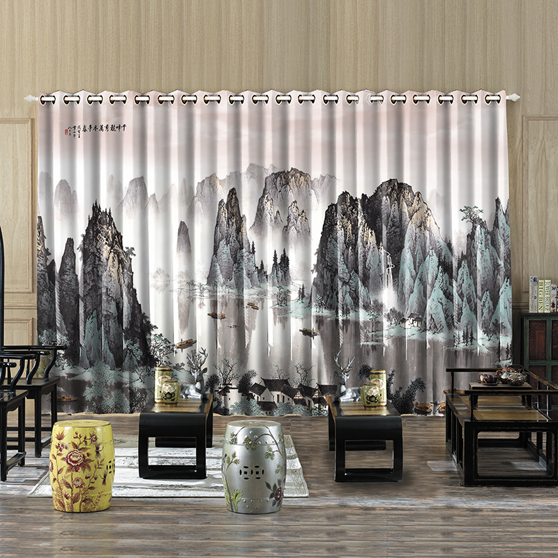 Personal Tailor 2pcs 200x260cm Drapery Panel Office Window Dressing Drape Draw Wave Curtain Hills Trees River Boat Landscape