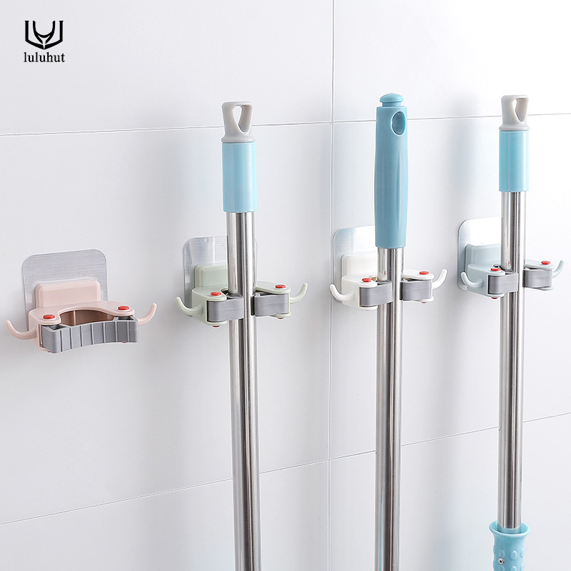 luluhut Nail-free mop holder multi-function traceless Brush Broom Hanger Household Mop Brush Hanger bathroom hook Kitchen Gadget