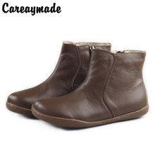 Careaymade-2019 new pure handmade head layer of leather casual shoes, cowhide RETRO art Mori leisure female boots K01