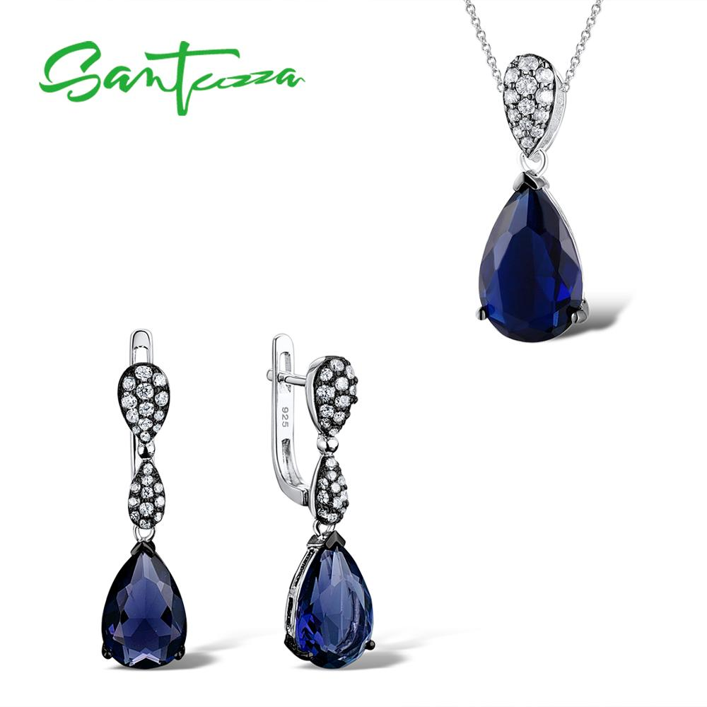 Jewelry Sets for Women Blue Crystal CZ Stones Jewelry Set Drop Earring Pendant Set 925 Sterling Silver Fashion Jewelry Set все цены