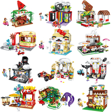 цены New City Street View Model Building Blocks Girl Series Ice Cream Cake Shop Legoes Bricks For Children Toys Birthday Gift
