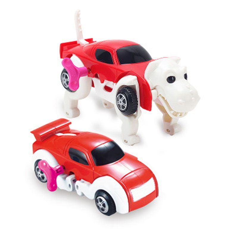 4 Colors Cool Automatic Transform Dog Car Vehicle Clockwork Wind Up Toy Variety Cute Funny Children Kids Baby Model Toy For Gift