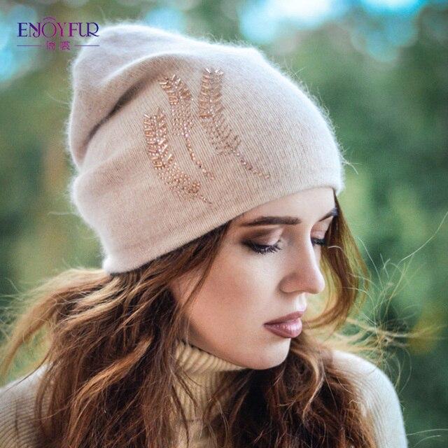 ENJOYFUR зимние шапки для женщин толстые теплые внутри Стразы шапочки шляпа женский бренд Ангора Шерсть шапки Леди