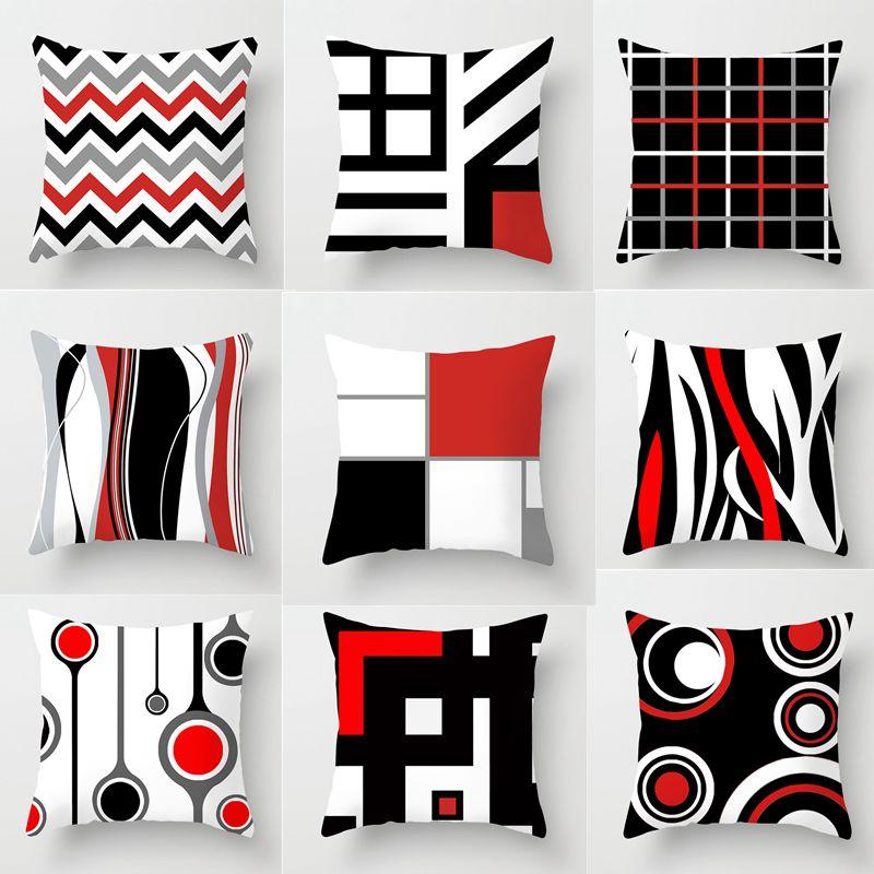 Modern Creative Red Black Geometric Printed Cushion Cover Home Office Decorative Pillow Covers 45x45cm Sofa Car Waist Pillowcase
