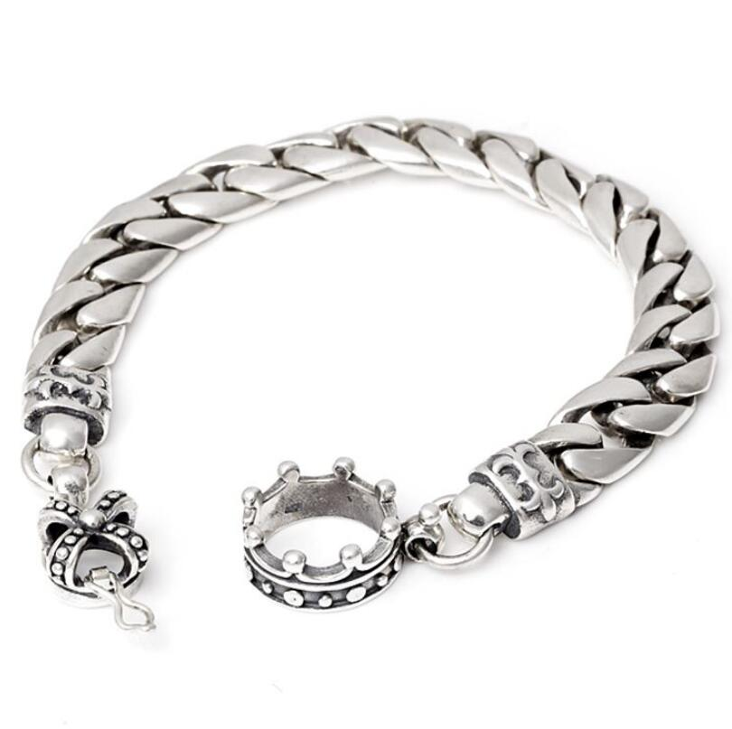 Pure Silver Crown Link Cross Chain Sterling 925 Silver S925 Bracelet