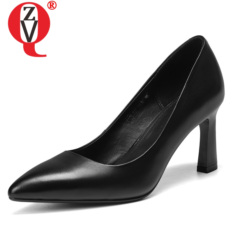 ZVQ shoes women 2019 spring newest fashion concise genuine leather office women pumps high thin heels