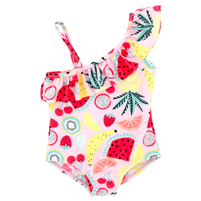 KAVKAS 2019 Lovely swimwear baby girl bikini badmode baby One Off Shoulder Swimsuit  Swimwear Bathing One-Piece Swimming Clothes 4b9c1230b0052