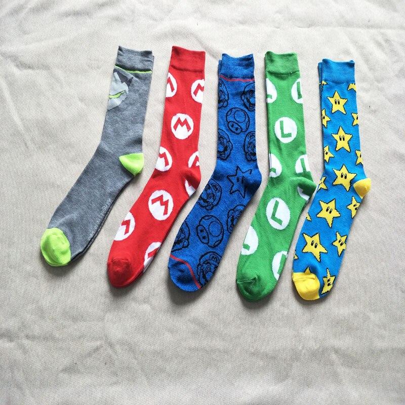 Marvel Black Panther Cosplay Socks Captain America Happy Mario Funny Cool Fashion Men Sock Comfortable Novelty Cotton Crew Socks