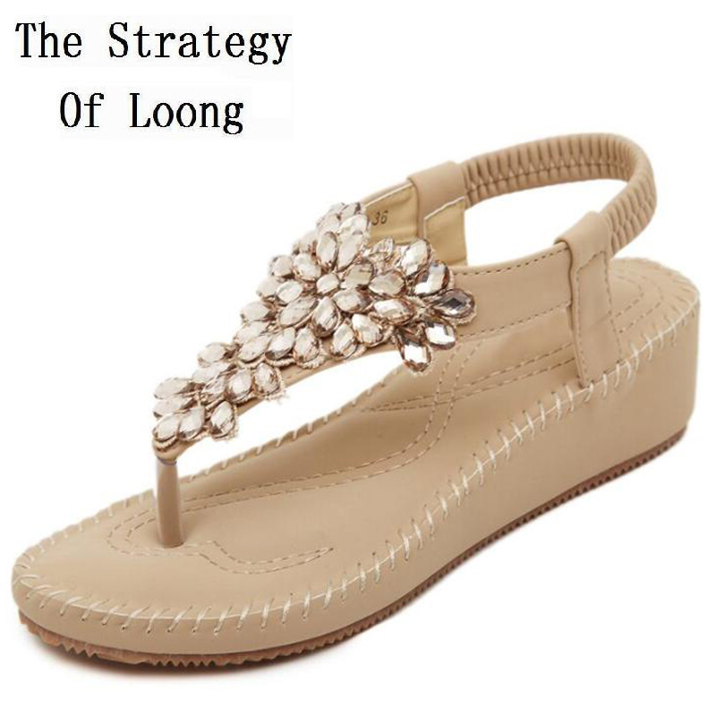 Korean Style Flats Flip Flops Rhinestones Ankle Wrap Women Crystal Sandals 2016 New Fashion Summer Sandals