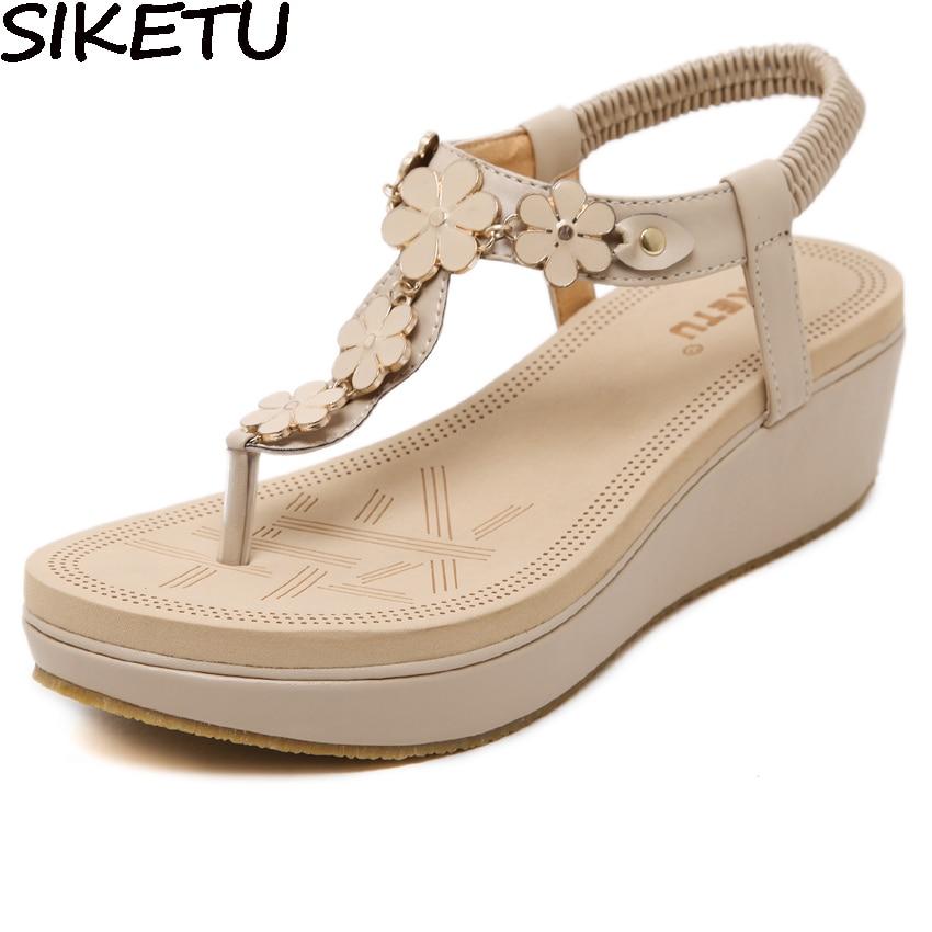 a510c15030c6 SIKETU Brand Bohemia Ethnic Sandals Women Floral Flower Flip Flops Thong  Sandals Comfort Platform Wedge Heel Shoes Summer Beach