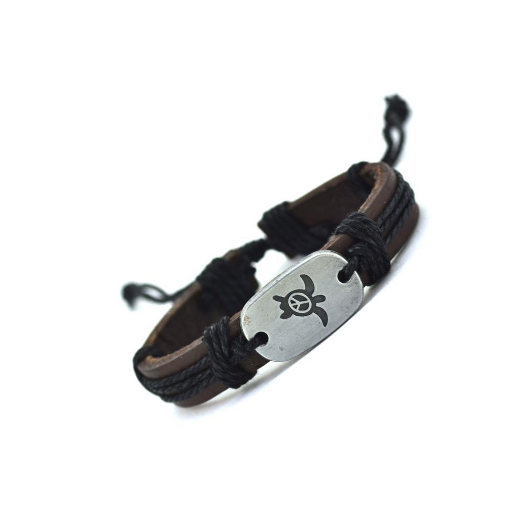black hand crafted leather sea turtle bracelet-1