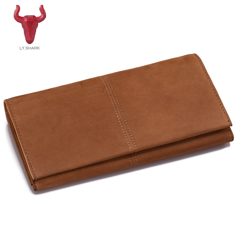 LY.SHARK 2017 Women Wallet Long Genuine Leather wallet female clutch card holder women coin Purse Phone Bag Woman Colors Purses