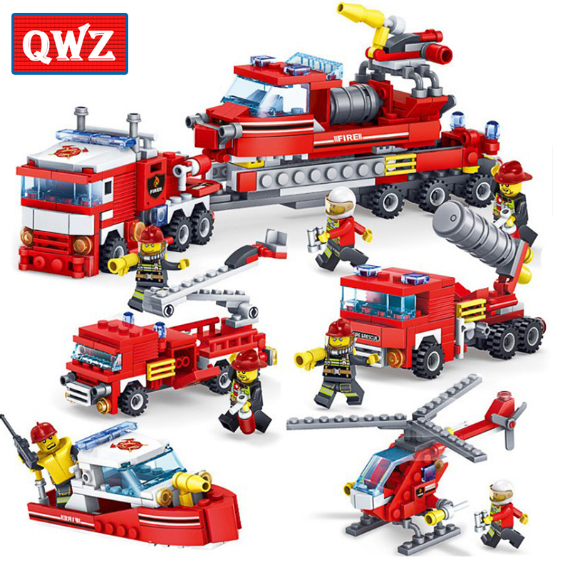 Model Building Figurines Glorious Fire Protection Series Truck Plane Firemen Figures Educational Building Block Bricks Compatible Legoeinglys Kids Toys