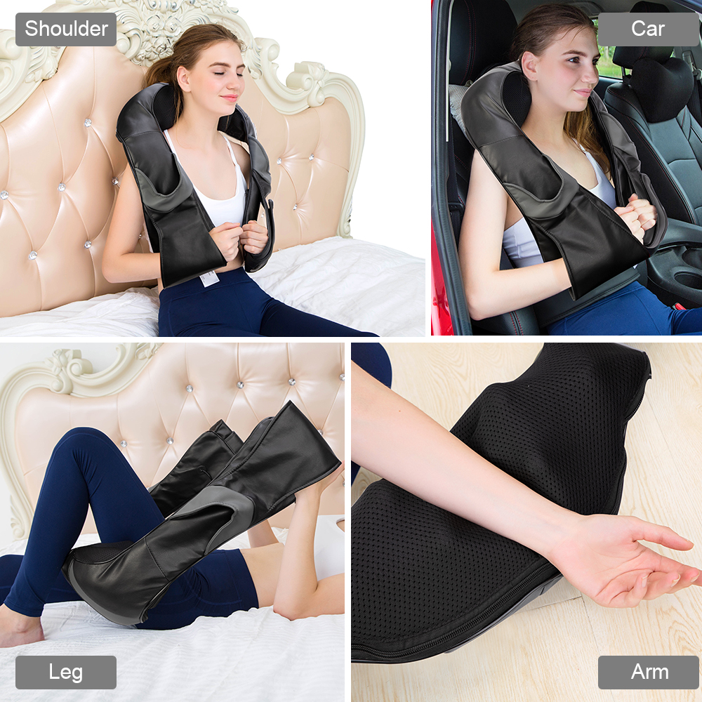 electrical shiatsu back neck shoulder body infrared heated kneading massager for car/home