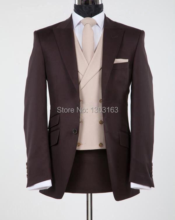 2016New Design Chocolate brown Peak Lapel Groom Tuxedos Groomsmen Men Wedding Suits Best man Suits (Jacket+Pants+Vest+Tie)