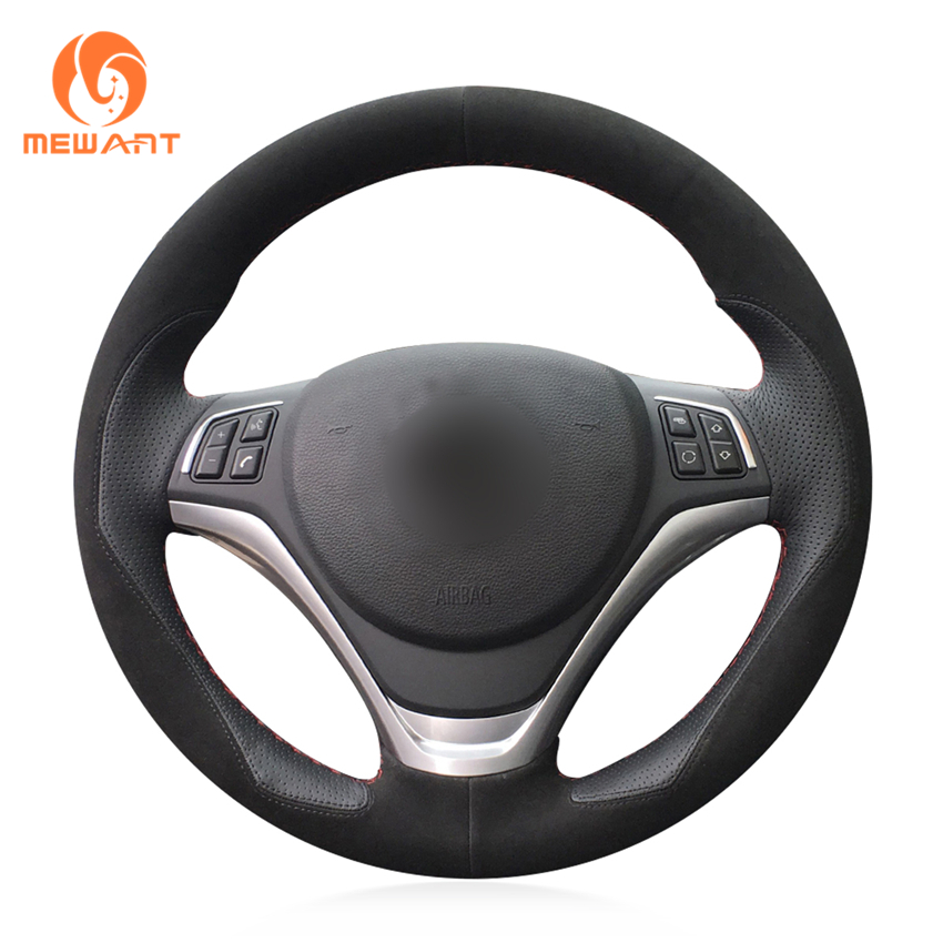 MEWANT Hand Sew Comfortable Soft Black Leather Black Suede Fashion Style Wrap Car Steering Wheel Cover