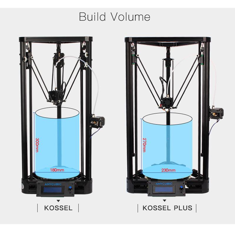 Prix pour Anycubic 3D Imprimante Poulie Version Linéaire rail de Guidage plus DIY Kit Kossel Linéaire Delta Grande Taille D'impression 3D En Métal Imprimante