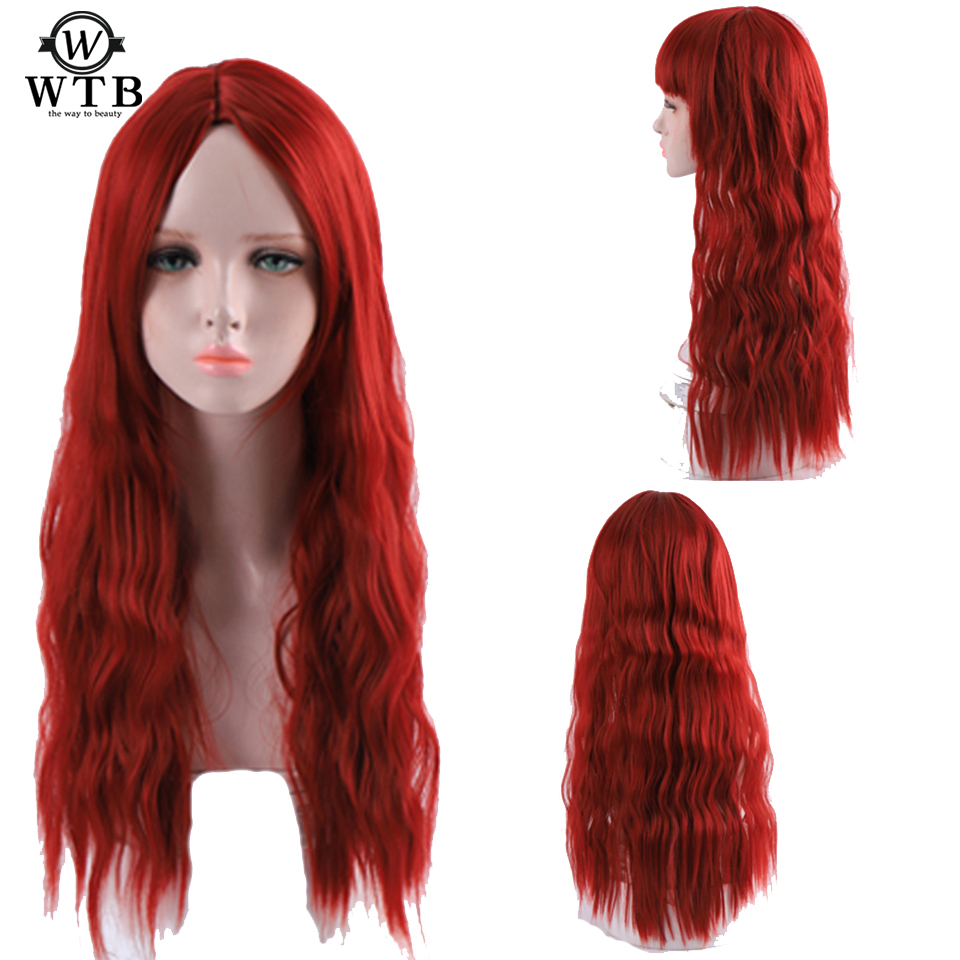 WTB 26 Inch Long Red Wavy Black Wigs Kinky Curly Synthetic Wig For Women Natural Middle Part Heat Resistant Hair
