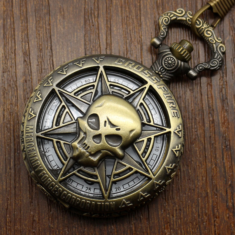Hot Game Online Cross Five Pendant Pocket Watch Skull Design Fob Watch With Chain Necklace Gift For Boys