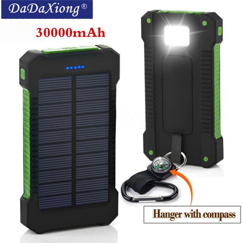 Hot Top Solar Power Bank Wasserdicht 30000 mah Solar Ladegerät 2 USB Ports Externe Ladegerät Power für Xiaomi note8 für i7 18650
