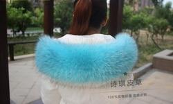 Colorful Genuine Raccoon Fur Detachable Collar Scarfs Fashion Coat Sweater Luxury Raccoon Fur Collar TKC006-blue