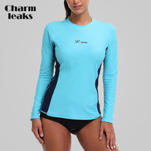 Charmleaks Women Rash Guards Swimwear Long Sleeve Rashguard Swim Shirts Surf Top Swimsuit Running Shirt Hiking Rashguard UPF 50+(China)