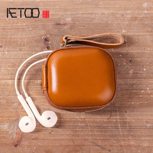 AETOO Portable headphones condoms cover Baotou layer cowhide shockproof protection box zero wallet durex condoms jeans 24 pcs straight walled extra lubricated condoms for men natural latex sex toys products wholesale
