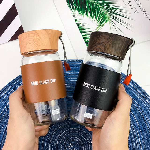 Mini Glass Water Bottles With Hot Drink Sleeve 2