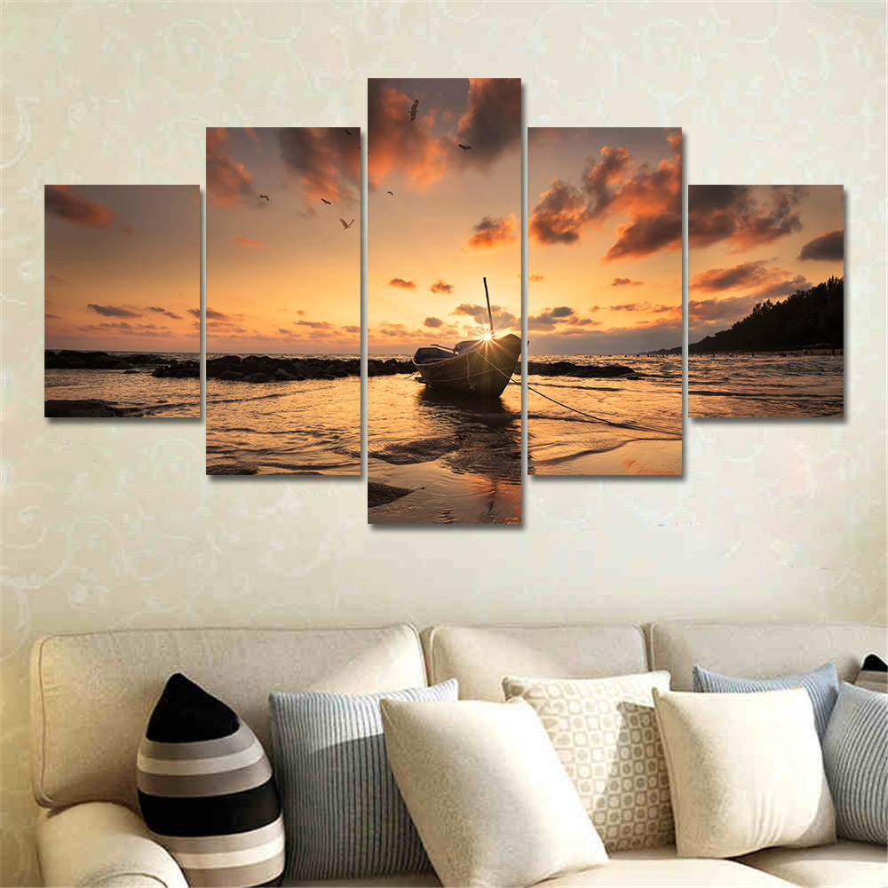 Canvas Painting Home Decoration Wall Art Pictures 5 Panel Ship Boat Sunset  Seascape Painting Room HD Printed Poster Frame PENGDA In Painting U0026  Calligraphy ...