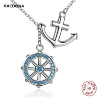 RACDONA 2017 New Collection 925 Sterling Silver Blue Zircon Anchor Rudder Charm Pendants Necklaces Wedding Jewelry