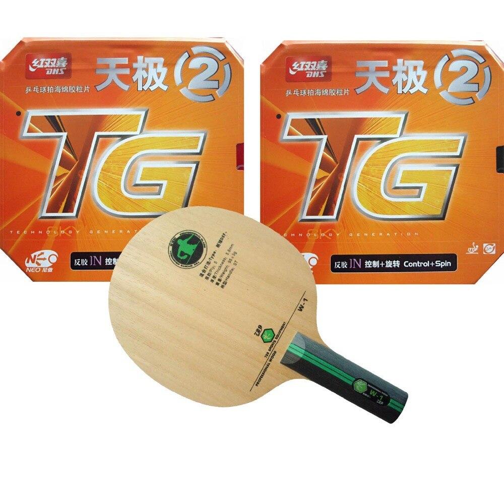 Pro ping-pong Combo raquette 729 W-1 poignée droite-ST avec 2 pièces DHS NEO horizon TG2 2015 offre spéciale