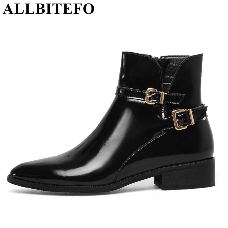 ALLBITEFO size:34-43 genuine leather thick heel women boots fashion brand high heels ankle boots women martin boots girls shoes beibehang fashion girl pink pastoral flowers 3d non woven 3d wallpaper kids room princess room bedroom romantic wallpaper pink