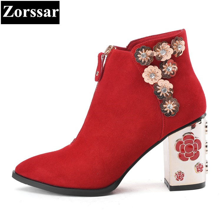 {Zorssar} Suede Women Boots 2017 High Heels ankle boots Short Plush Pointed Toe Martin Boots Fashion flower Winter shoes Heels zorssar 2017 new winter female shoes fashion high heels pointed toe short boots suede womens ankle boots shoes women heels