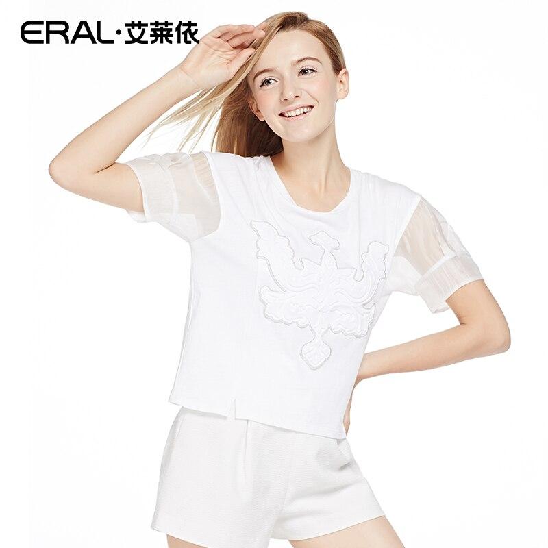 edbab1b8ccc Eral 2016 Для женщин Лето o-образным вырезом с коротким выдалбливают рукавом  печати Повседневное короткая футболка eral35016-exab