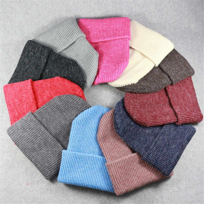 58e58e3fa Winter Wool Blends Soft Warm Knitted Cap Men Women Skull Cap Hats Gorro Ski  Caps Trendy Warm Chunky Stretch Cable Knit Beanie