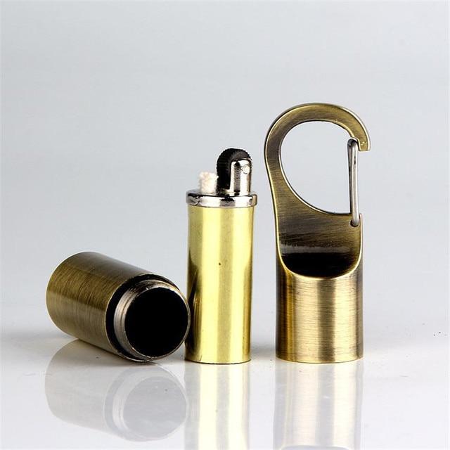 Outdoor Portable Kerosene Flint Lighter Key Chain Hang Buckle Gasoline Lighter Inflated Keychain Oil Petrol Lighter