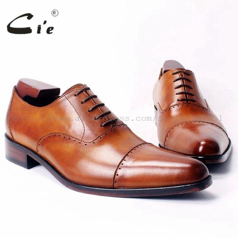 cie Pointed Cap Plain Toe LaceUp Oxfords 100 Genuine Calf Leather Brown Bespoke Men Shoe Handmade