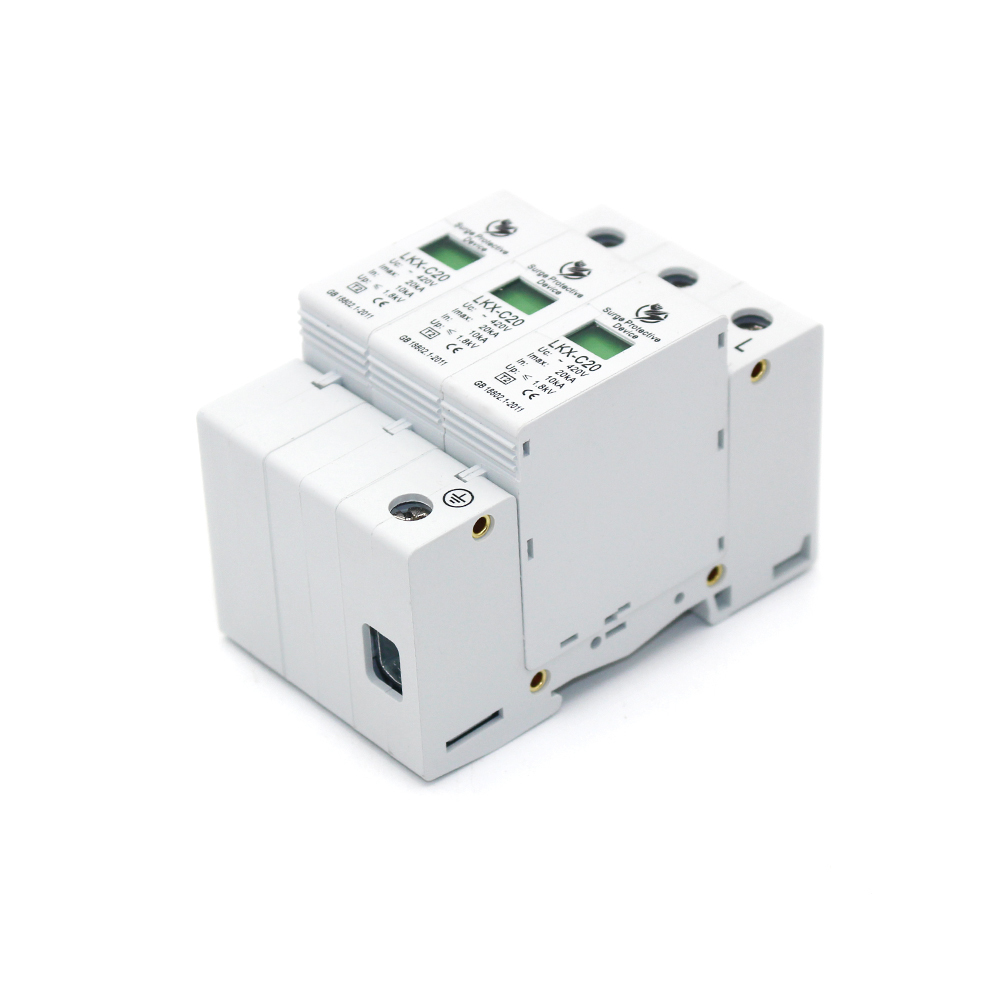 Hot sale C20-3P 10KA~20KA ~275V AC SPD House Surge Protector Protective Low-voltage Arrester Device 2P+N Lightning protection