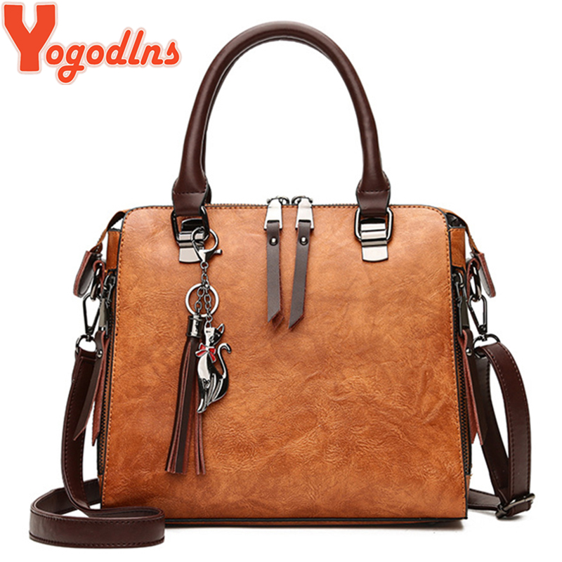 Yogodlns Women Bags Tote Crossbody-Bags Tassel Luxury Handbag Casual-Shell Cat Double-Zipper