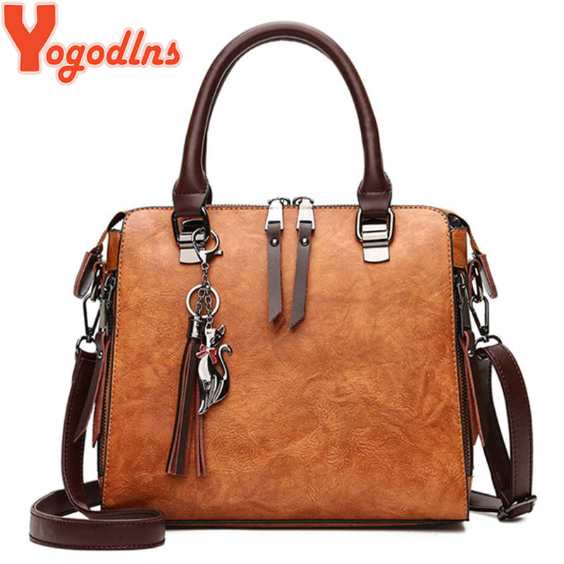 Yogodlns Vintage Cat Tassel Luxury Handbag Women Bags Double Zipper Crossbody Bags Shoulder Bag Casual Shell Tote Ladie