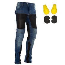 Летние мужские мотоциклетные штаны для верховой езды, мото штаны, джинсы, защитные штаны для мотокросса, гонок, джинсы с 4 X наколенниками, наколенники