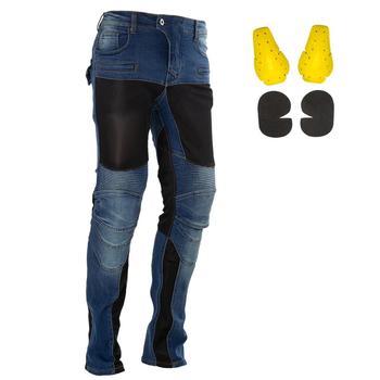 Été hommes Moto pantalons d'équitation Moto pantalon Jeans pantalons de protection Motocross course Denim Jeans avec 4 X genouillères