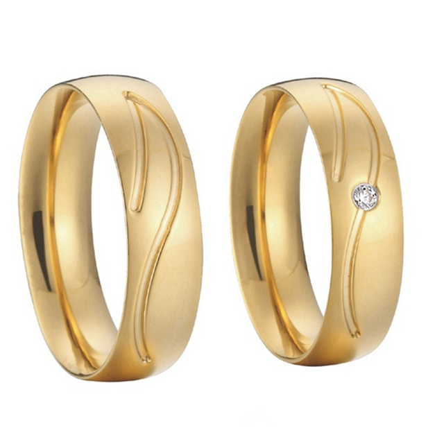 Anniversary Alliances Anel Silver Gold Color Health Titanium Steel Wedding Bands Couples Promise Rings Sets